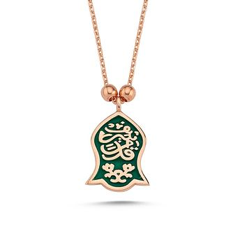 Hamsa hand of fatima pendant 925k sterling silver rose necklaces with chain
