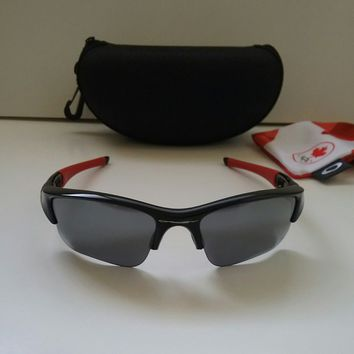 New OAKLEY FLAK JACKET XLJ 1.0 CANADA OLYMPICS Black Red /Blk Iridium