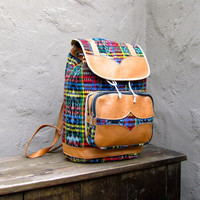 Vintage Ethnic Plaid and Tan Leather Medium Backpack
