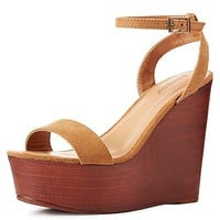 Bamboo Two-Piece Wooden Wedge Sandals