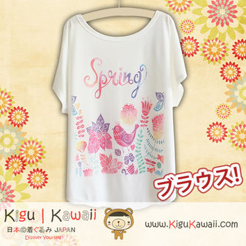 New Spring Art Fashionable Loose and High Quality Spring and Summer Tshirt Free Size KK447