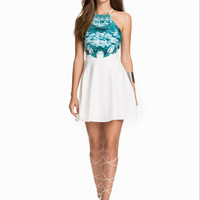 White And Blue Printed Halter Neck Dress