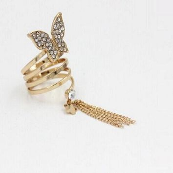Long Chain Gold Tassels Big Butterfly Three Finger Ring (Resizable)