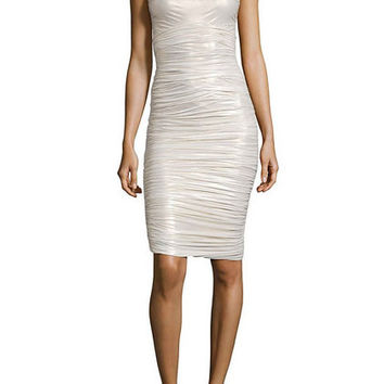 Gold Metallic Ruched Jersey Dress