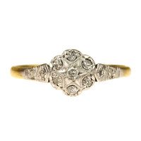 Edwardian Diamond, Gold and Platinum Cluster Ring