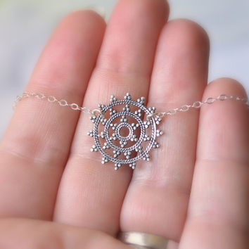 Mandala Necklace, Sterling Silver Jewelry, Cable Chain, Snowflake Pendant, Adjustable Length, Free Shipping
