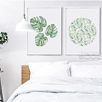 Watercolor Tropical Leaf Canvas Art Print Poster,  Wall Pictures for Home Decoration, Giclee Wall Decor CM011-2&3