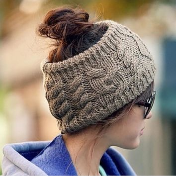 Double Layer Knitted Wool Stretchable Headband Ear Warmer