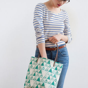 Emerald Triangle Tote Bag, Hand Printed Canvas with Leather Straps