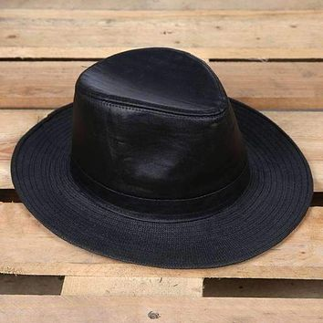 Outback Straw & Leather Hat Black or Tan