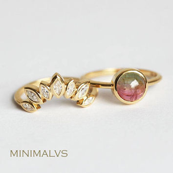 Yellow Gold Wedding Ring Set, Tiara Diamond Ring with Watermelon Tourmaline ring, Bi color Tourmaline Ring, Diamond Crown Ring, Minimalvs