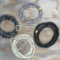 Long Beaded Double Wrap Choker Collar Necklace with Faceted Fire Agate and Gold Circle Pendant