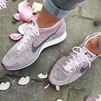 Nike Free Fly knit Fashion Women Men Rainbow Casual Running Sport Shoes Sneakers Pink
