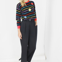 90s BUTTON sweater novelty sweater primary colors striped sweater small medium