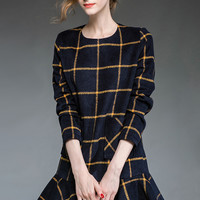 Navy Blue Plaid Long Sleeve Fishtail Mini Dress