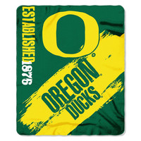 Oregon Ducks NCAA Light Weight Fleece Blanket (Painted Series) (50inx60in)
