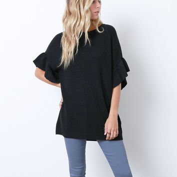 Make Frill Happen Tunic Top - Black