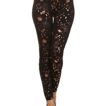 Floral Cheetah Slick Print Fleece Lined Leggings