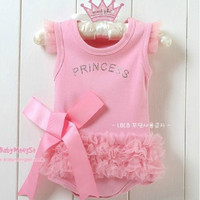 Children Clothes 2014 Retail cute&fashion Baby romper Girl's Wear The lovely princess pink bow lace Romper baby clothes .