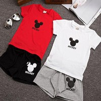 MIckey Mouse Red and White Summer Short Clothing Set