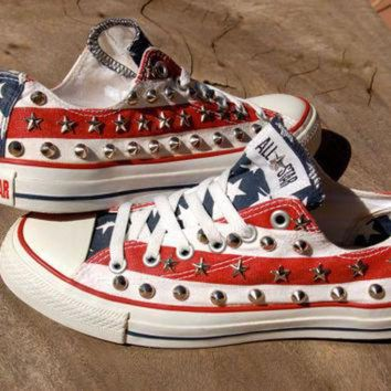 DCCKHD9 Stars and Stripes - Studded Converse - Rare Converse - American Flag