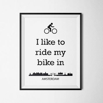 Biking in Amsterdam - Printable Poster - Digital Art - Download and Print - Lifestyle