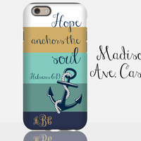Hope Anchors The Soul Christian Hebrews 6:19 Custom Jesus Quote Monogram Gold Teal Nautical Samsung Edge iPhone 5s 6 Plus Tough Phone Case