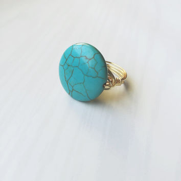 Gemstone Wire Wrapped Ring (The Mia) - Turquoise Ring - Gold Ring - Statment Ring