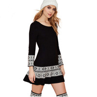 Black Geometric Pattern Long Sleeves  Knitted A-Line Mini Dress