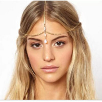 Fashion Bohemian wind shells diamond-studded hair band hair chain hair accessories