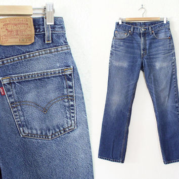 Vintage 1980s Men's Levis 517 Distressed Bootcut Jeans - Sturdy Made in USA Cowboy Denim -  W 30 L 29