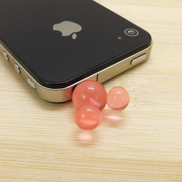 Cute Transparent 3D Pink Mickey Dust Plug - 3.5mm Smart Phone Dust Stopper Earphone Cap Dustproof Plug Charms for iPhone 4 4S 5 HTC Samsung