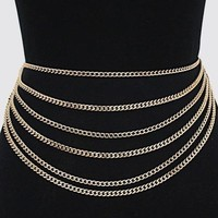 "26"" -  36"" waist alloy layered chain belt"