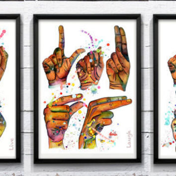 """Live Laugh Love - 20% SALE on the three PRINTS of the """"Live Laugh Love Series"""" - Poster - Illustration - COLORFUL"""