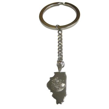 Illinois State Map Shape and Flag Design Pendant Keychain
