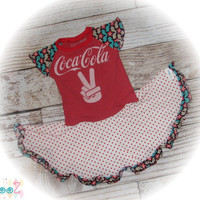"Girls approximate size 4/5/6  Upcycled Gently used Coca-Cola t-shirt Dress 12.5"" x 25.5"""