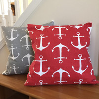 Anchor pillows 16x16, nautical pillows 18x18, patio pillows, Beach theme pillows 20x20, Blue anchor pillows, Gray anchor pillows, Red anchor