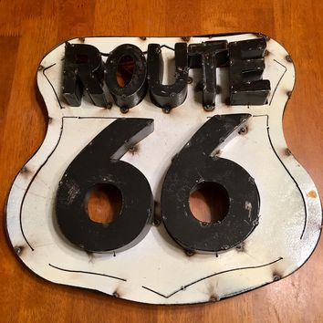 Route 66 Recycled Metal 3D Sign 15x15x3