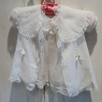 1950's Handmade Silk And Lace Three Piece Christening Outfit With Bonnet