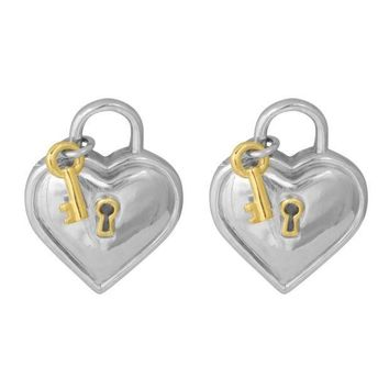 CREY3DS Tiffany & Co. Vintage Heart Lock and Key Clip On Earrings