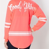 Good Vibes Striped Drop Yoke Sweatshirt