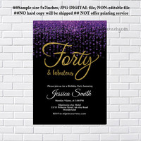 Glitter Purple invitation,  birthday party invitation, elegant thirty, forty, fifty & fabulous, 40th 50th 60th 70th any age  - card 1227