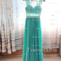 Custom Made Green Chiffon Lace Prom Dresses, Bridesmadi Dresses, Evening Dresses, Formal Dresses, Wedding Party Dresses