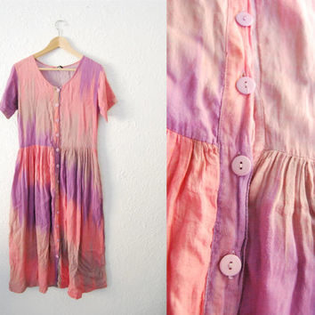 Vintage 90s Tyedye Hippie Boho Oversized Summer Dress / Pink / Cochella / Midi / Long / Button Up