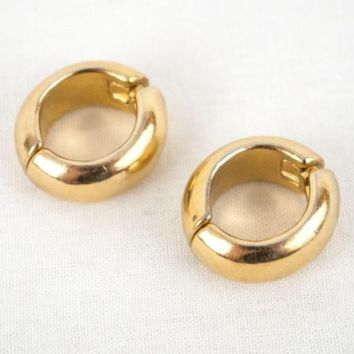 Trifari Earrings Clip On Gold Tone Hoop Opens with a Hinge 1 Inch Diameter