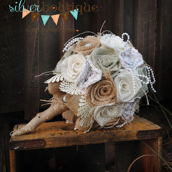 Sage Burlap Bouquet, Wedding Burlap Bouquet, Burlap Bouquet Wrap, Rustic Burlap Bouquet, Burlap, Wedding, Bride, Groom, Favor, Blush, Pearl