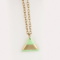 Geometric Triangle mint and golden necklace, antique bronze chain
