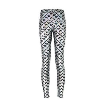 Mermaid Leggings - Silver White