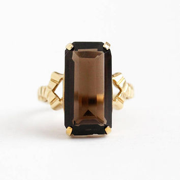 Vintage Quartz Ring - 10k Rosy Yellow Gold Smoky Quartz Statement - Retro 1970s Estate Size 5 Dark Brown Emerald Cut Gemstone Fine Jewelry