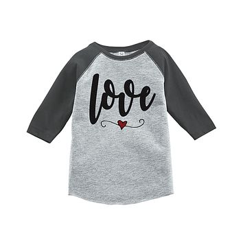 Custom Party Shop Kids Love Heart Happy Valentine's Day Grey Raglan